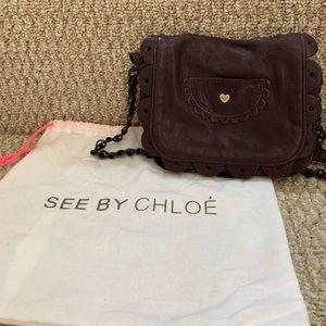 Plum Scalloped Handbag